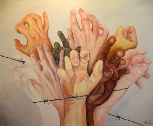 Hände ringen um Freiheit, Öl/Leinwand, 90x110cm, Mai 2012
