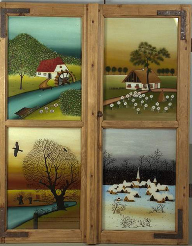 4 Jahreszeiten in altes Fenster gemalt, krakeliert, Öltechnik