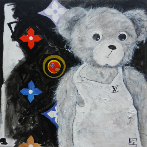Lous Vuitton Bär, 70x70cm, Acryl