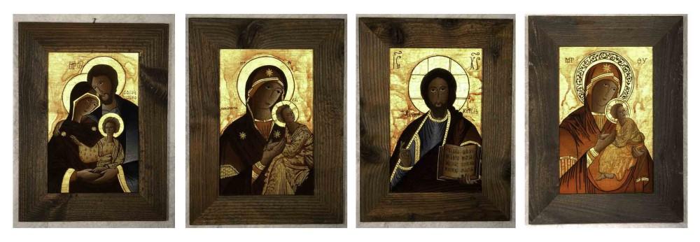 IKONEN auf Glas gemalt, krakeliert, echtes Blattgold 23 KT, Rahmen: altes Holz