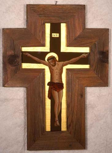KREUZ, Eigenentwurf, krakeliert, Öltechnik, echtes Blattgold 23 KT, Rahmen: altes Holz