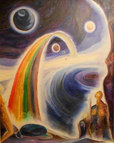Regenbogen ins 3. Jahrtausend, Öl/Leinwand, 1996