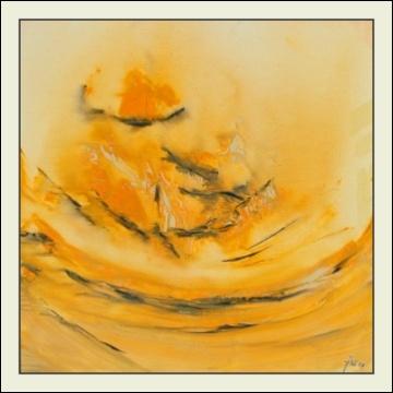 LICHT I - Holzrahmen weiß, Zyklus Schöpfungsgeschichte, Acryl auf Leinwand, 50x50cm, 2006