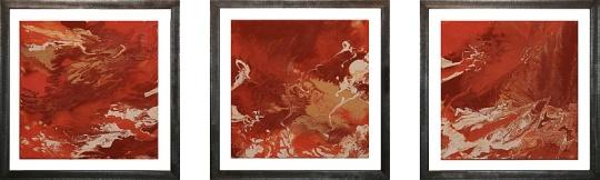 Erotica, Metallrahmen freischwebend, Tryptichon Acryl/Leinwand, à 43x43 cm, 2006