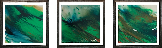 Monsoon, Metallrahmen freischwebend, Tryptichon, Acryl/Leinwand, je 43x43cm, 2007