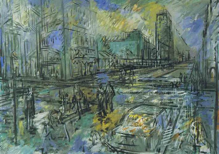 Johann Wimmer - Großstädtische Straßenszene